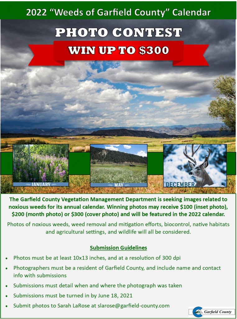 """Photo explaining """"weeds of Garfield County"""" Photo Contest."""
