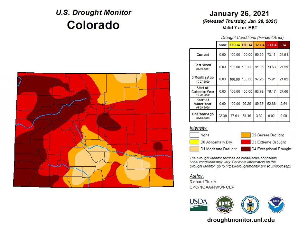 U.S. Drought Monitor for Colorado map.  Image linked to droughtmonitor.unl.edu