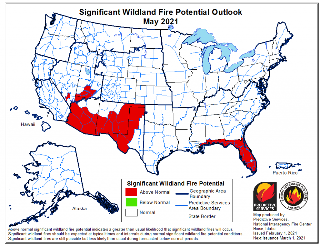 Wildland Fire Potential Outlook map. Linked to the Fire Potential Outlook homepage.